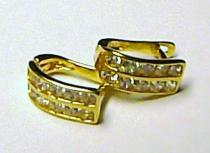 Pretis náušnice ze žlutého zlata se zirkony 585/1,52gr P081 půlkroužky