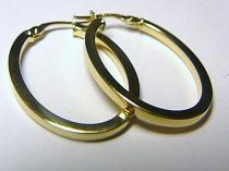 Holan Jaroslav velké oválky - náušnice 33mm kruhy 585/1,76gr H140