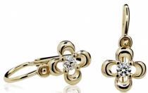 Optima Diamant Dětské náušnice žluté zlato s růženínem 585/1,05gr P394