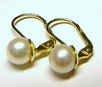 Zlatokov náušnice s bílými perlami 8mm 585/2,32gr Z008