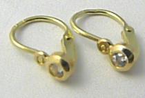 Pretis Levné dětské náušnice ze žlutého zlata se zirkony 585/0,62gr P461