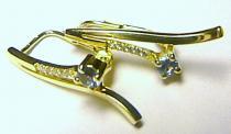 Zlatokov náušnice se zirkony a akvamarínem 585/2,78gr Z033