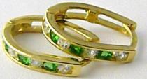 Holan Jaroslav velké oválky se zelenými smaragdy a zirkony 585/1,88gr H513