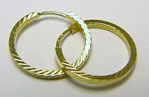 Zlatokov plné kruhy s gravírováním 17mm 585/1,18gr Z055