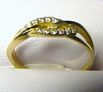 Pretis zlatý prsten se zirkony 585/1,67gr P218