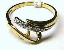 Pretis velký zlatý prsten se zirkony 8ks 585/1,77gr P094