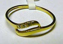 Soliter zlatý prstýnek ze žlutého zlata se zirkony 585/1,05gr S032