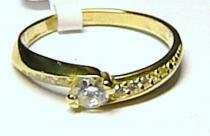 Soliter zlatý prsten posetý zirkony 585/1,55 S036