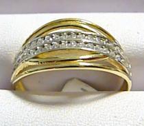 Pretis pevný zlatý prsten posetý zirkony 44ks 585/2,67gr P258