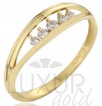Pretis zlatý prsten posetý pěti zirkony - velký 585/2,05gr P544