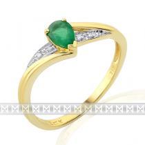Pretis diamantový prstýnek zásubní se zeleným smaragdem 1ks 0,41ct