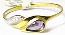 Pretis zlatý prsten se zirkonem a fialovým ametystem 585/0,80gr P410