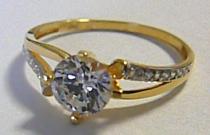 Pretis Zásnubní zlatý prsten s velkým zirkonem 585/1,75gr P185