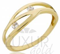 Pretis zlatý prsten se dvěma zirkony 585/1,20gr P535