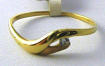 Pretis Zlatý prsten s jedním zirkonem ve žlutém zlatě 585/0,85gr P480