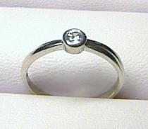 Zlatokov Zásnubní zlatý prstýnek z bílého zlata se zirkonem/1,25gr Z012