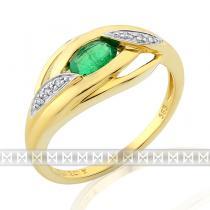 Pretis Prsten s diamantem, žluté zlato briliant, smaragd a diamanty