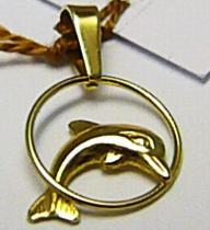 Zlatokov Zlatý přívěsek delfín v kruhu 585/0,65gr Z057