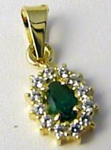 Zlatokov Zlatý přívěsek posetý zirkony se zeleným smaragdem 585/0,96gr Z113