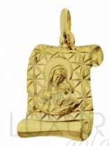 Pretis Zlatý přívěsek madonka na pergamenu s gravírováním 585/1,1gr P392