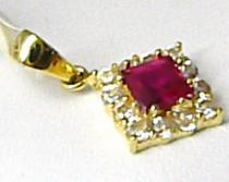 Pretis Zlatý přívěsek s červeným rubínem a posetý zirkony 585/0,80gr P408