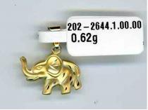 Pretis Zlatý přívěsek velký gravírovaný slon 585/0,62gr P115