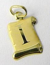 Marcello Diamant Zlatý přívěsek- písmenko v pergamenu s gravírováním 585/0,40gr T196