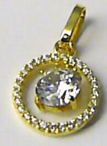 Zlatokov zlatý přívěsek s velkým zirkonem v kruhu 585/1,29gr Z097