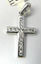 Pretis zlatý křížek z bílého zlata se zirkony 585/0,85gr P528