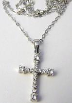 Marcello Diamant zlatá souprava z bílého zlata - křížek se zirkony 585/2,90gr T192