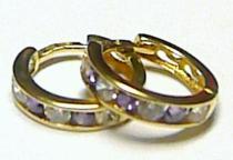 Pretis kroužky - náušnice kruhy s fialovými zirkony 585/1,15gr P210