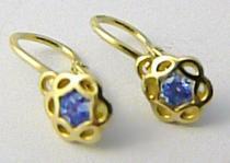 Pretis Dětské náušnice s modrými akvamaríny ze žlutého zlata 585/1,0gr P504