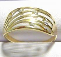 Pretis Celozlatý velký prsten se zirkony 5ks 585/1,97gr P186
