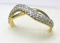 Holan Jaroslav šperkový zlatý prsten posetý zirkony 44ks 585/2,08 H313