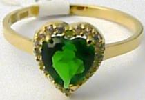 Holan Jaroslav zásnubní prsten zeleným smaragdem SRDCE 585/1,63gr H536
