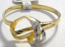Pretis designový prstýnek z bílého a žlutého zlata 585/1,07gr P044