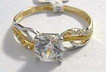 Pretis zásnubní zlatý prsten s velkým zirkonem 585/1,57gr P047