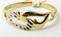 Pretis zlatý prsten v kombinaci bílého a žlutého zlata 585/1,25gr P486
