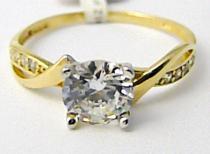 Pretis Zlatý zásnubní prsten s velkým zirkonem 585/1,95gr P491