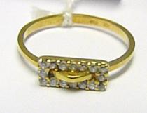 Pretis zlatý prstýnek ze žlutého zlata s 16ti zirkony 585/1,50gr P366