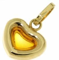 Pretis Zlatý přívěsek srdíčko se žlutým citrínem 585/0,40gr P442