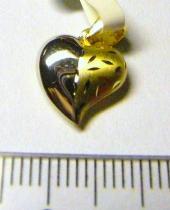 Pretis zlatý přívěsek srdíčko z bílého a žlutého zlata 585/0,6g P049