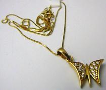 Marcello Diamant Zlatá souprava - řetízek s motýlkem posetý zirkony 12ks 45cm 585/2,85gr T181