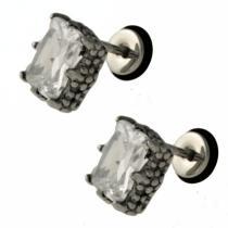 SKALIMAR Matované náušnice z chirurgické oceli se zirkony 316 L 214246
