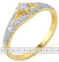 Pretis zásnubní zlatý diamantový prsten posetý brilianty 3811841