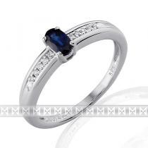 Luxurgold prsten s diamanty a modrým safírem 3861143 585/2,6gr