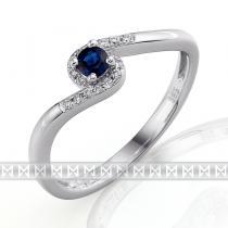 Luxurgold prsten s diamanty a modrým safírem 3861128 585/1,85gr