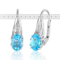 Pretis diamantové náušnice z bílého zlata s velkými modrými topazy