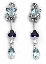 Optima Diamant náušnice s akvamaríny a ametysty 585/3,86gr J-19475-11