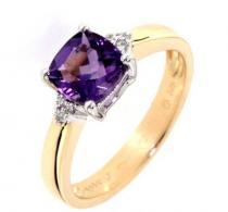 Pretis prsten s diamanty, ametyst, žluté zlato